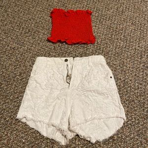 Free People Shorts and Red Strapless Top!